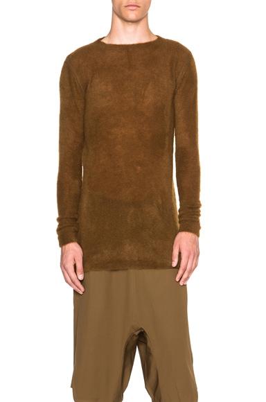 Rick Owens Level Round Neck Sweater in Mustard