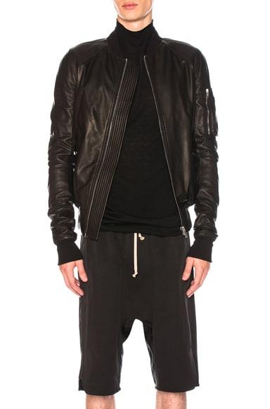 Raglan Leather Bomber Jacket