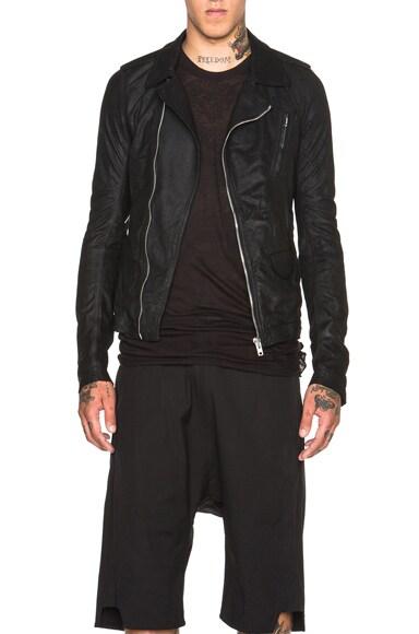 Rick Owens Stooges Biker Leather Jacket in Black