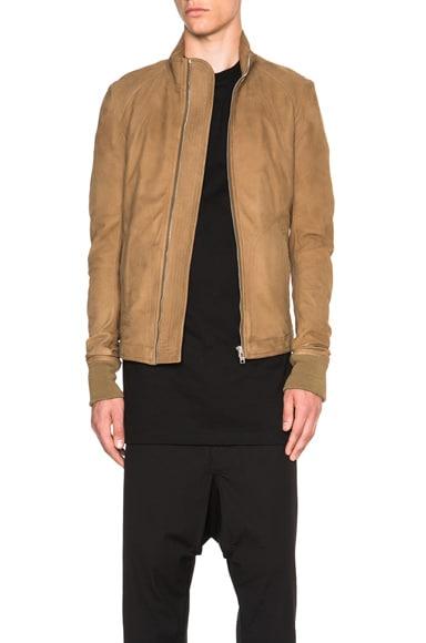 Rick Owens Intarsia Leather Jacket in Mustard