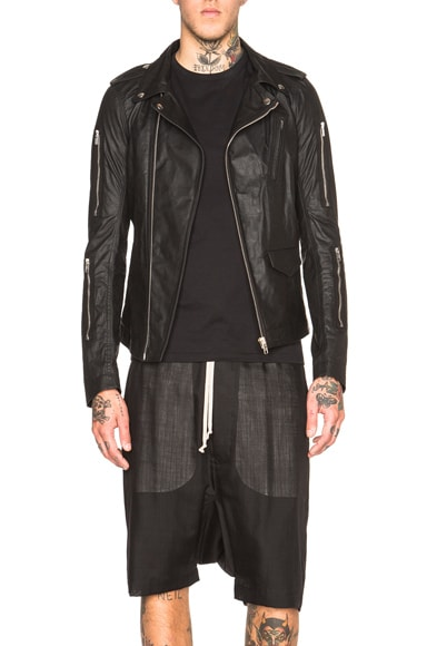 Rick Owens Zipped Stooges Leather Jacket in Black