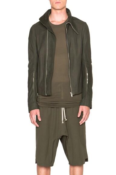 Rick Owens Mollinos Leather Biker Jacket in Palm