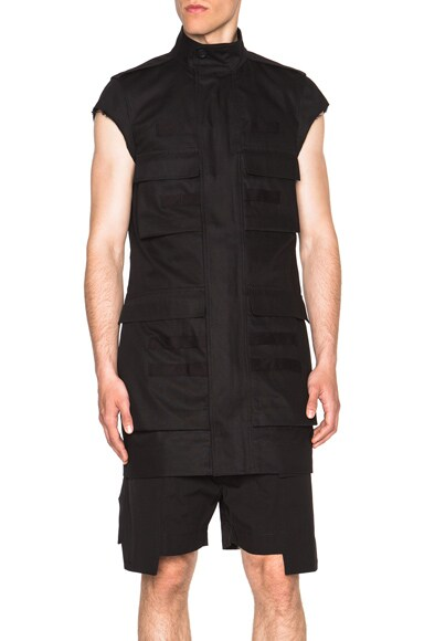 Rick Owens Ribbed Parka Jacket in Black