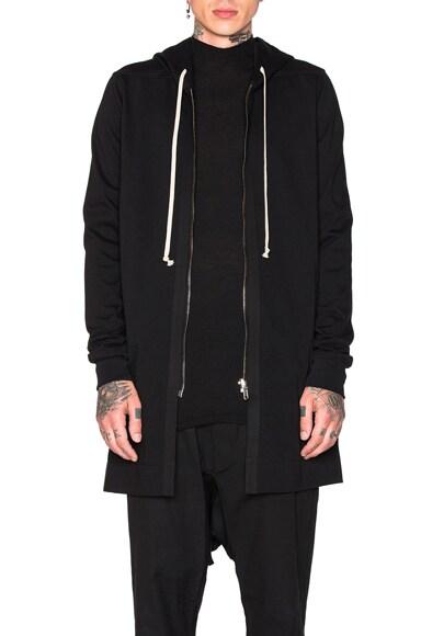 Rick Owens Zipped Hoodie in Black