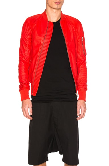 Rick Owens Raglan Leather Bomber Jacket in Red