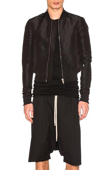 Rick Owens Glitter Flight Bomber Jacket in Black