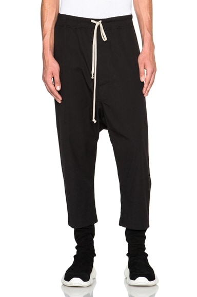 Rick Owens Drawstring Cropped Pants in Black