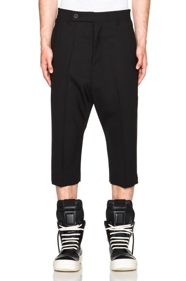 Rick Owens Cropped Easy Astaires Trousers in Black