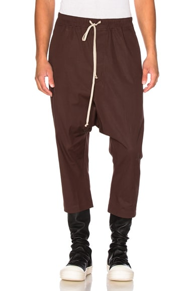 Rick Owens Drawstring Cropped Pants in Macassar