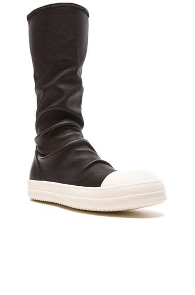 Rick Owens Sock Leather Sneakers in Black