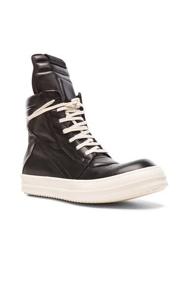 Rick Owens Geobasket Leather Sneakers in Black