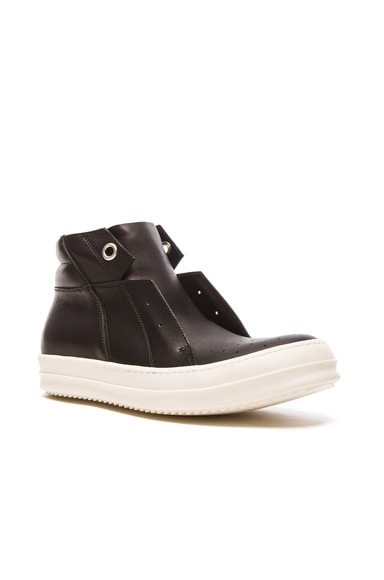 Rick Owens Island Dunk Leather Sneakers in Black