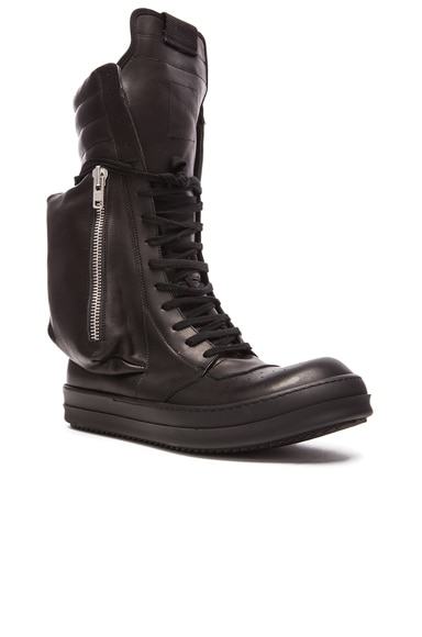 Rick Owens Cargobasket Leather Boots in Black