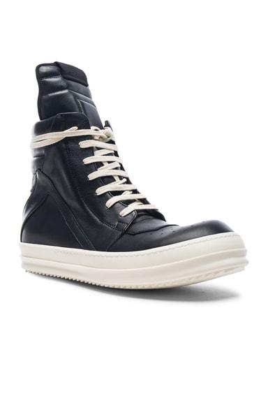 Rick Owens Leather Geobasket Sneakers in Black & White
