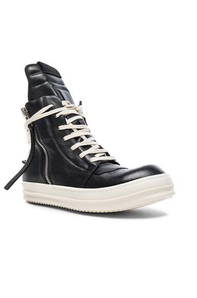 Rick Owens Cyclops Geobasket Sneakers in Black & White