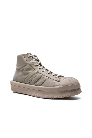 Rick Owens x Adidas Leather Pro Model Sneakers in Pearl