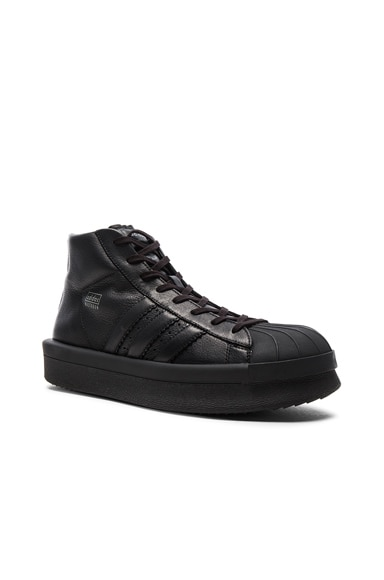 Rick Owens x Adidas Leather Pro Model Sneakers in Black