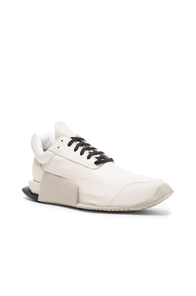 Rick Owens x Adidas Leather Level Runners in White