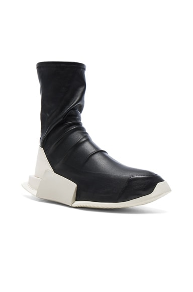 Rick Owens x Adidas Level Stretch Leather Socks in Black