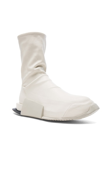 Rick Owens x Adidas Level Stretch Leather Socks in White