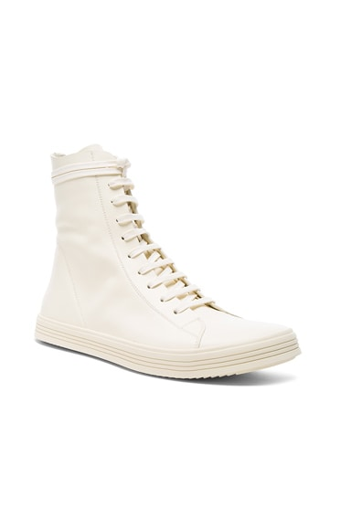 Rick Owens Leather Mastodon Sneaks in Milk