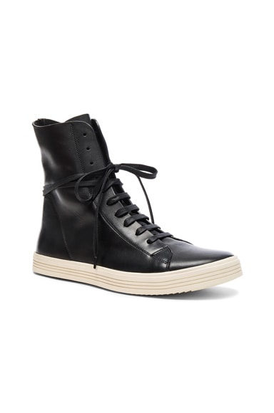 Rick Owens Leather Mastodon Sneaks in Black & White