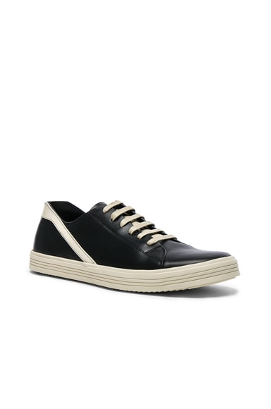 Rick Owens Leather Geothrasher Sneakers in Black & White