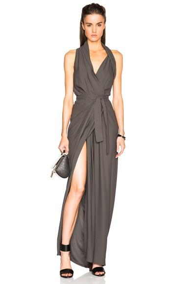 Rick Owens Cady Limo Wrap Dress in Dark Dust