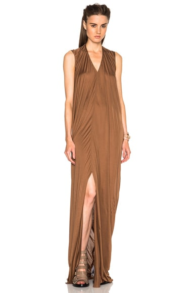 Silk Jersey V Neck Long Dress