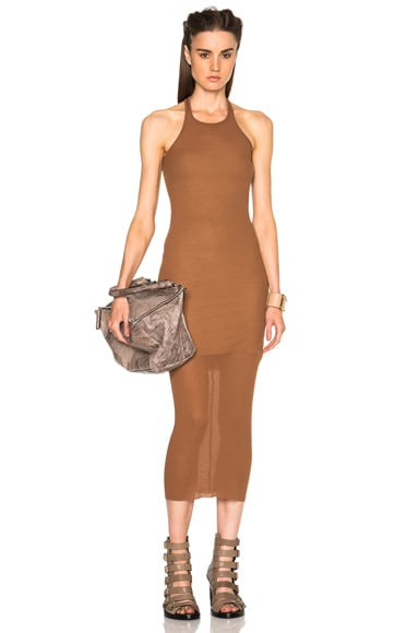 Rick Owens Ribbed Cotton Tank Dress in Henna