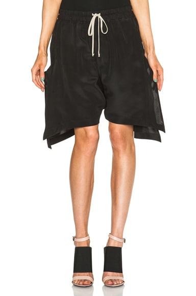 Rick Owens Mikado New Flounced Shorts in Black