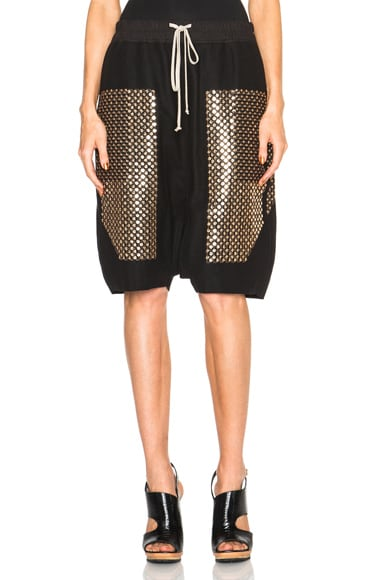 Rick Owens Sequin Embroidered Pod Shorts in Black