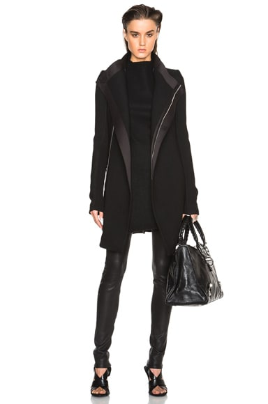 Rick Owens Zipped Eileen Wool Peacoat in Black