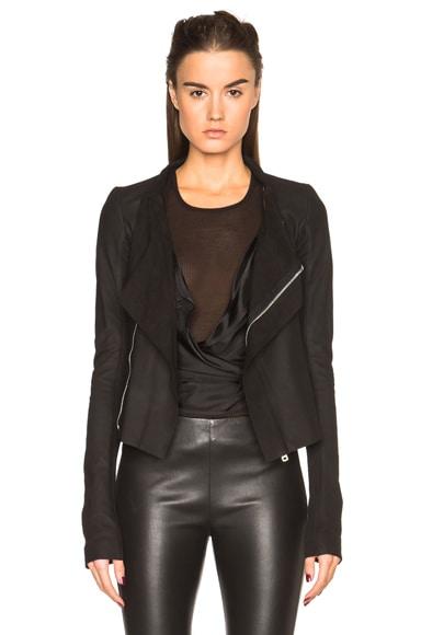 Rick Owens Nuvola Leather Low Neck Biker Jacket in Black