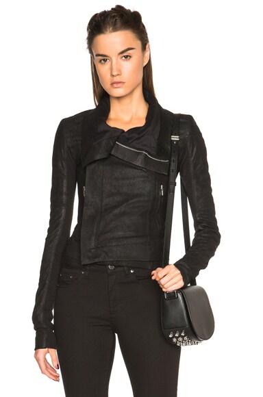 Rick Owens Blister Leather Classic Biker Jacket in Black