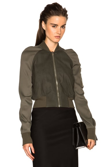 Rick Owens Cropped Flight Bomber in Palm