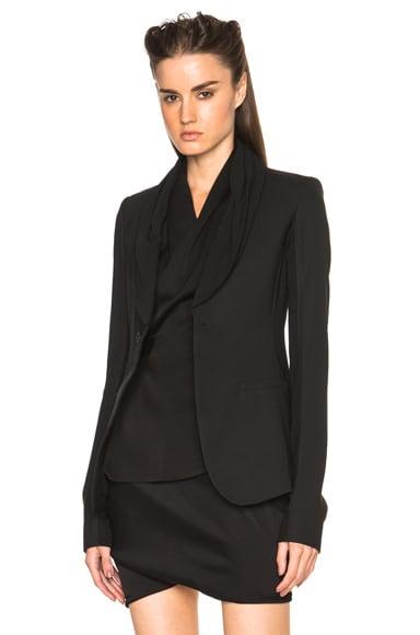 Rick Owens Zanlight Marocain Tux Blazer in Black