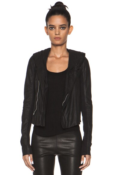 Leather Giacca Pelle Hooded Jacket