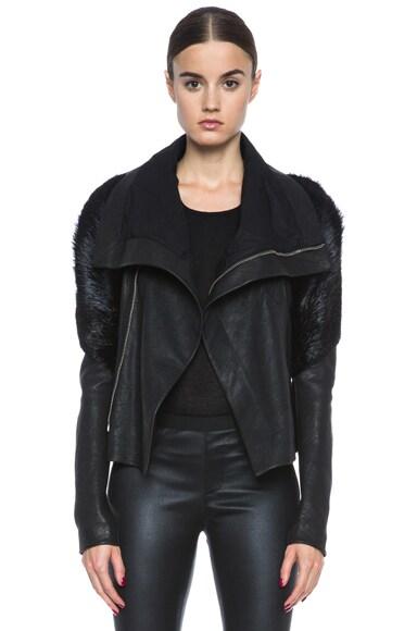 Rick Owens Monkey Sleeve Lambskin Leather Jacket in Black