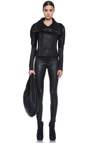 Monkey Sleeve Lambskin Leather Jacket
