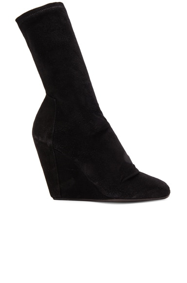 Rick Owens Stretch Wedge Open Toe Boots in Black