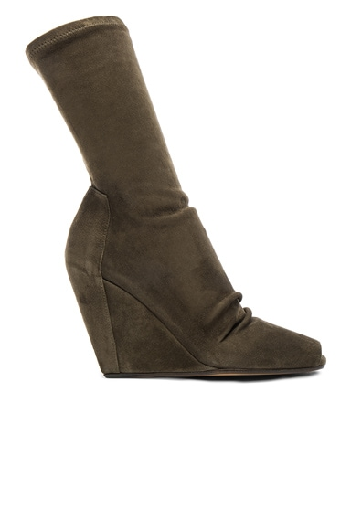 Stretch Wedge Open Toe Boots