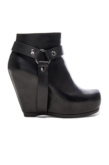 Rick Owens Harness Zip Leather Wedge Boots in Black
