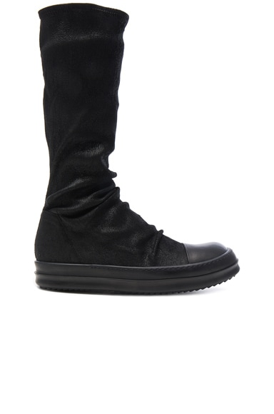 Rick Owens Leather Sock Sneaks in Black