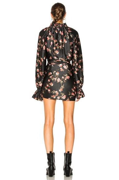 Rose Print Raglan Mini Dress
