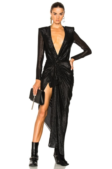 Black Striped Couture Dress