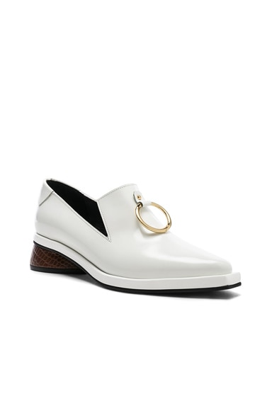 Leather Ring Square Loafers