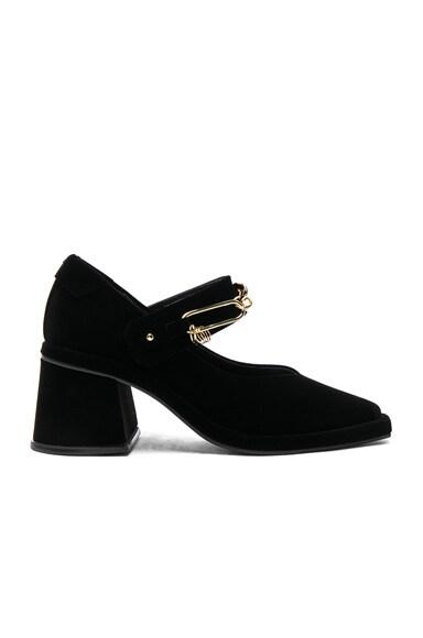 Velvet Square Chain Heels