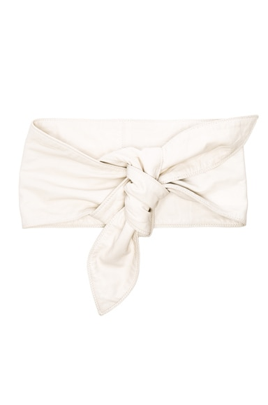 Rodarte Lambskin Tie Waist Belt in Off White