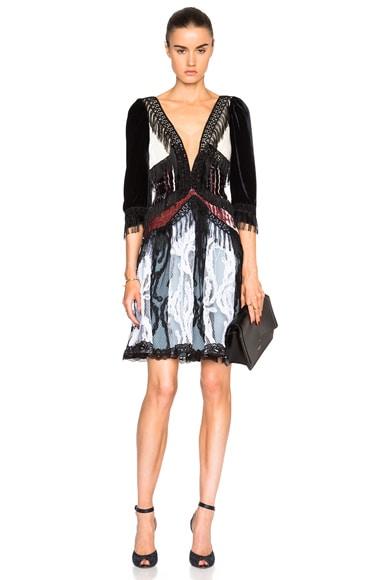 Rodarte Paisley Silk Velvet Dress in Navy & Ivory